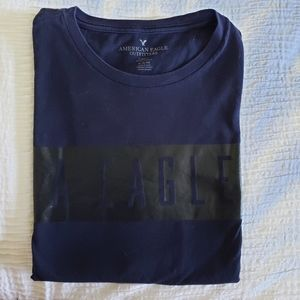 American Eagle Men's Classic Fit Navy Blue Tee Shi